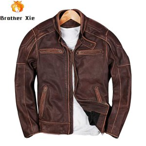 2020 Men's Vintage Lather Jacket Red Brown Motor Daker Real Cowhide Leather Jet Button Patchwork Slim Outwear S-5XL