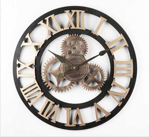 Industrial Vento Gear orologio da parete in legno silenzioso silenzioso Gear Orologio da parete industriale numeri romani retro rustic per House