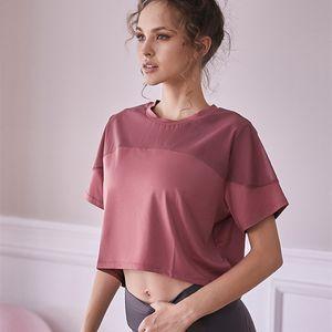 CretKoav 2020 New Breathable Network Yarn Patchwork Yoga Shirts Women Sport T-shirt Outdoor Loose Running Short-Sleeve T Shirt