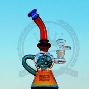 нефтяные вышки ДАБ Пурпурный Recycler Octopus Arms Recycler Курительные воды Бонг с Matrix Проц Ресайклер стекла Трубы Нефть Rig 14.5мм Joint