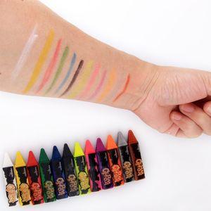 Boyalı Renkli kalemler Yüz Vücut Parlak Makyaj Kalem Dikiş Yapısı Renkli kalemler Noel Cadılar Bayramı Vücut Kalem Çocuk Makyaj BH1709 CY Boyama