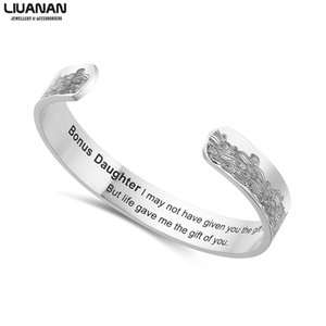 10mm Bonus Daughter Wide Bracelet Engraved Cuff Bracelet Family Bangles For Women Men Fathers Day Jewelry Male Quotes