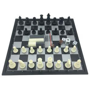 Gioco da tavolo pieghevole magnetico Scacchi in plastica Backgammon Set da scacchi 3 in 1 con scacchiera e scacchi Pezzi taglia S