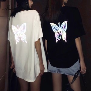 2020 New Tops For Summer Women Symphony 3D Butterfly Reflected Light Tee Short Sleeved Loose Female T Shirt Tops