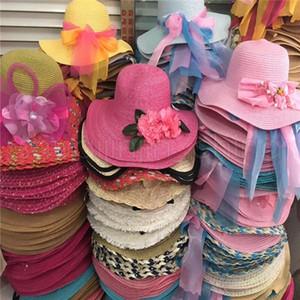 Las mujeres playa de la paja sombreros de Sun Summer protección UV Caps ancho del borde portátil sombrero de la cinta del Bowknot del casquillo del recorrido TTA-1038