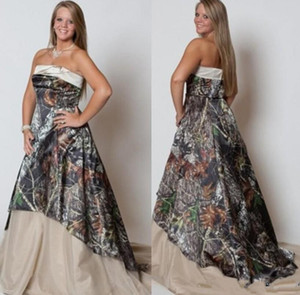 2020 Fashion Strapless Camo Wedding Dresses Long Plus Size Bridal Dresses A Line Satin Wedding Gowns Camouflage Dresses