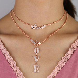 Y lariat multi layer women necklace valentines gift LOVE letter heart cubic zirconia Miami wide Curb Cuban link chain necklaces