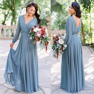 Yeni Bordo Gelinlik Modelleri Şifon Uzun Kollu V Boyun Ülke 2019 Plaj Düğün Konuk Elbise Boho Artı Boyutu Honor Kıyafeti BM0238