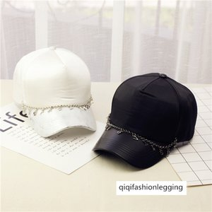 High quality chain cross leather brim Four Seasons baseball hip-hop cap sunscreen hat children