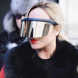 MINCL / de gran tamaño de la lente integrada de las mujeres de los anteojos de sol de moda de los hombres de la lente de las lentes reflectante visera del protector de sol FML