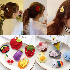 Baby School Girl Felt Fabric Craft Clip di capelli Carino colorato Cartoon Fruit Strawberry Animal Snap Hairgrip BB Barrette