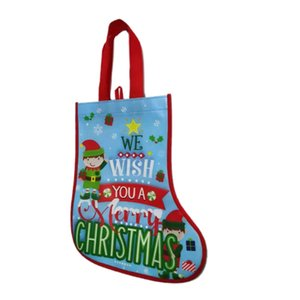 Christmas socks style non woven bag,Eco friendly cartoon pattern special gift package non woven bag