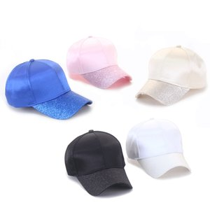 Mercerized Cotton Sequin Horsetail Caps Dome Hat Trucker Pony Hat Solid Color Adjustable Outdoor Sports Hats 60pcs LJJP46-1