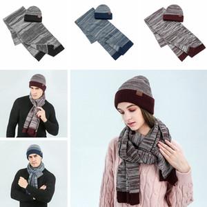 Gorro de lana suave bufanda Establece mujeres de la manera de los hombres de invierno ganchillo gorro de camionero caliente al aire libre bufanda de punto de esquí Caps TTA1890-1