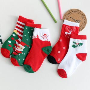 Alta calidad del cabrito calcetín de Navidad Papá Noel del árbol de Navidad Elk Imprimir calcetines del bebé del invierno del otoño suave y transpirable Warm Cotton Niño Calcetines DBC VT1225