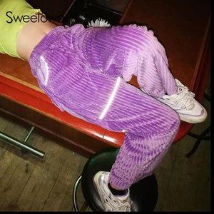 Женщины Пэчворк Светоотражающие Полосатые Прямые Мешковатые Брюки Повседневные Вельветовые Брюки Карманы Высокая Талия Спортивные Брюки Уличная Одежда