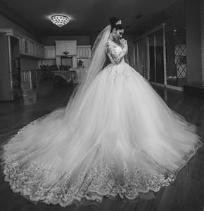 2019 레트로 아랍어 볼 가운 웨딩 드레스 긴 소매 쉬어 목 스윕 기차 아플리케 구슬 크리스탈 채플 가든 컨트리 신부 가운