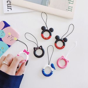 3D Cute Cartoon Animal Lanyard Anti-lost Universal Mobile Phone Short Lanyard Girl's Silicone Pendant Ring Strap for All Phone