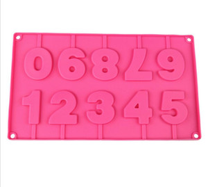 Digital Silica Gel mould 3D Birthday Lollipop Mold Chocolate Mold Baking Moulds Number Shape High quality Silicona