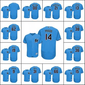 MiamiMarlins Men # 14 Martin Prado 38 Jorge Alfaro 13 Starlin Castro Frauen JugendMLB 150. Jahrestag Alternate Gewohnheit Jersey