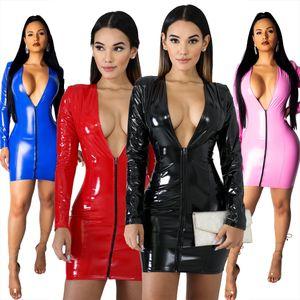 Hot sexy ad alta elastico PU abiti aderente per Night Out Club Bar Wear 2019 Deep v Neck Zipper anteriore lungo maniche Charming Party Dress 4 colori