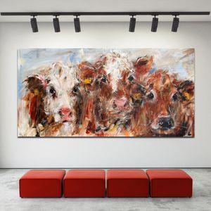 Abstract Art Colorful mucca Wall Art pittura moderna immagini decorative Per Soggiorno Cuadros Decor 191005