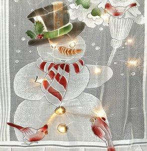 지도 크리스마스 눈사람 커튼 간단한 수직 레이스 패브릭 커튼 거실 침실 파티 커튼 장식 101 * 213cm RRA2344 부드러운
