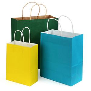 Saco de papel Kraft LOGOTIPO personalizado 9 Cores Sólidas Festival Pacote de Presente Bolsa De Papel Marrom Doce Colorido Saco de Compras