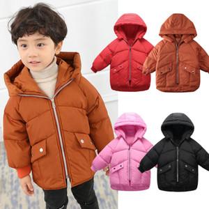 Outono morno novo sólido Criança Baby Girl Boy Inverno Down Jacket acolchoado Brasão Snowsuit Casacos