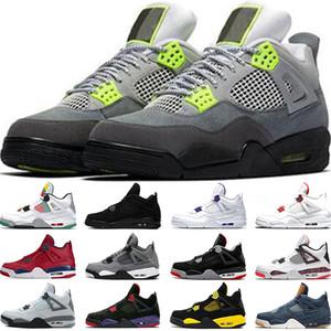 Nike Air Jordan 4 Retro Прохладный Серый Мужчины Баскетбольные Кроссовки OG Bred For 2019 Татуировки Одиночники Day Мужские Дизайнер Тренер Спортивные Кроссовки Размер