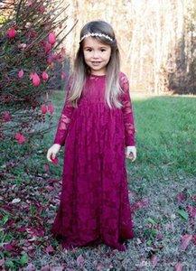 Vintage Burgundy Flower Girls' Dresses Lace Long Sleeves Boho Formal Prom Communion Dresses For Little Girl's Pageant Dresses