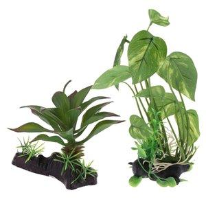 2PCS Plantas do aquário Vivarium Ornamentos Reptile tanque Habitat Plantas Decoração