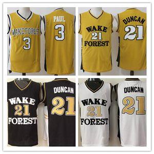 Mens Wake Forest Dämon Deacons College Basketball Trikots Tim Duncan Chris Paul Hemden Günstige Universität genäht Basketball Jersey S-XXL