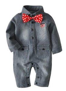 2019 New Kids'Hat-shirt Children 's Cowboy Stripe 결합 된 한 벌 신생아 등반 한 벌 Boy 's Tie Gentlemen 's Hat 한 벌 Best-selling new mo