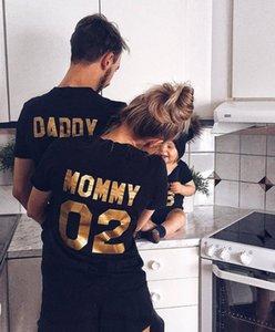 BABA MOMMY ÇOCUK BEBEK Komik Harf Numarası yazdır Aile Eşleştirme Giyim Sıcak Satış Aile Bak Pamuk Tişört Tees Yaz Tops
