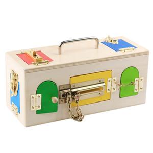 Neue Holz Baby-Spielzeug Montessori Bunte Verriegelungs-Kasten frühe pädagogische Schloss Spielzeug-Baby-Geschenke