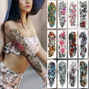 Большая рука рукав татуировки водонепроницаемый временные татуировки наклейки череп Ангел роза лотос мужчины полный цветок тату боди-арт татуировки девушка D19011202