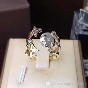 de luxo designer de jóias mulheres anéis de quatro folhas anel de flor de diamante de prata de aço de titânio ouro rosa anéis de noivado de três peças para as mulheres