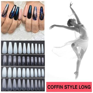 Ranmei 50Pcs / set Long Ballerina Nails Clear Covenet Fake Nails Tips Abs Full Cover Pointed Fasle Manicure Charms New