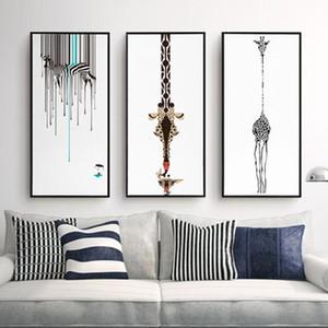 Triptych Soyut Dekoratif Boyama Oturma Odası Modern Çerçevesiz Sanat Siyah Ve Beyaz Zebra Kişilik Zürafa Tuval Resimleri