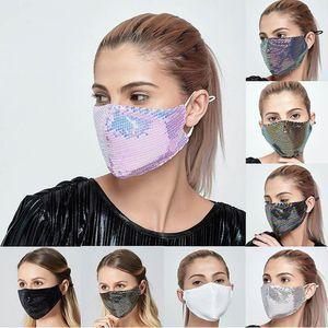 Moda Bling Bling Pullu Yüz Açık Güneş Koruyucu Anti-toz Nefes Yıkanabilir Yüz Yeniden kullanılabilir Maskesi YYA81 Maskesi