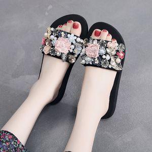 diseñada autónomos alta 5cm playa de las mujeres deslizadores del verano femenino del diamante cristalino del deslizador Zapatos de las muchachas Moda Calzado Size33-42