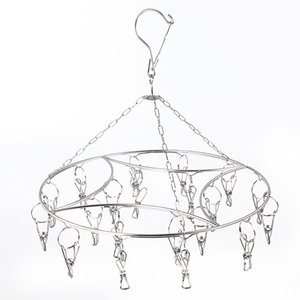 Windproof Multi-Clip Bold Sale Solid Stainless Steel Round Drying Hot Baby Rack Hanger Clothes Hanging Fast Shipping Ktcao