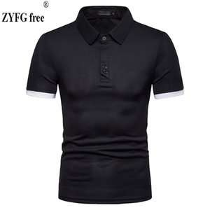 ZYFG free brand men's casual tops shirts pure color tide short-sleeved shirt blouse straight breathable male