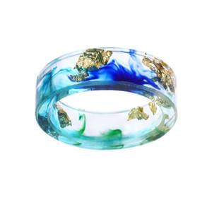 Transparente hecha a mano Secado anillo de los anillos de flor de la resina 8Color la hoja de oro de papel dentro de la resina de epoxy de dedo por un partido de la joyería Mujeres Accesorios regalo