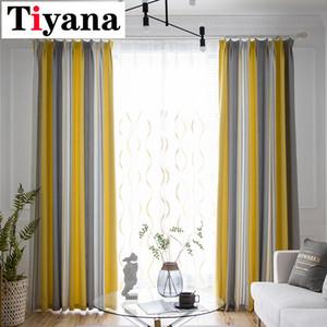 Tende oscuranti a righe moderne Tiyana per soggiorno Camera da letto Tende gialle spesse Tende da cucina cortina HP78X