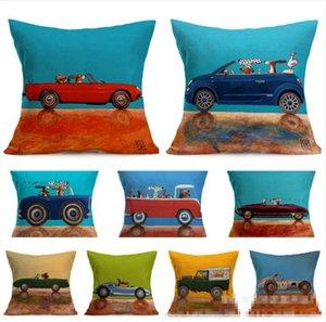 Yastık Köpek Sürüş Araç Yastık Kapak Keten Kare 17 LQP-YW2839 Tasarımları Yastık Kılıfı Dekoratif pillowslip Ev Dekorasyonu atın Kapaklar