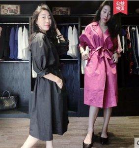 2019 sonbahar yeni avrupa moda gevşek kadın sashes midi uzun trençkot casacos abrigos artı boyutu M L XL XXL