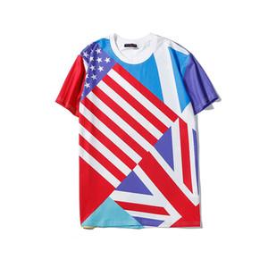 Fashion Design T-Shirt Flag Star Printed Brand Tops Tees Men Women Casual Comfortable Breathable Tees Shirt