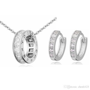 High Quality Classic Cubic Zirconia Round Hollow Necklace Piercing Earring costume jewelry sets Women Anniversary Gift